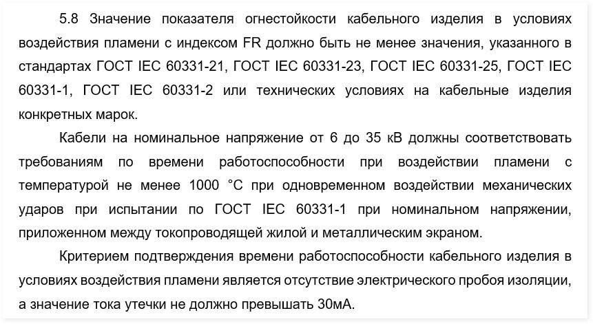 Проект ГОСТ 31565 «Кабельные изделия. Требования пожарной безопасности»